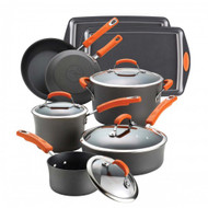 Rachael Ray Orange Handle Hard Anodized Nonstick 12 Pc. Set