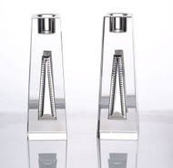 Crystal & Silver Candlestick Set