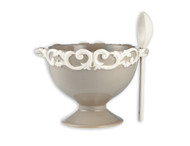 Scroll Footed Bowl with Spoon