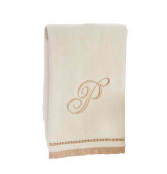 Ivory Initial Fingertip Towel