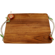 Wood Tray with Pomegranate Handles