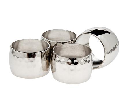 Godinger Hammered Napkin Ring Set
