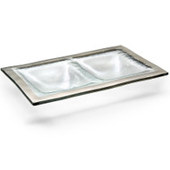 Annie Glass Two Section Glass Dish- Platinum