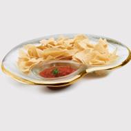 Annie Glass Chip & Dip Glass Bowl- Gold