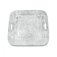 Beatriz Ball Croc Square Tray with Handles