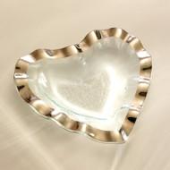 Annie Glass Ruffle Heart Bowl- Platinum