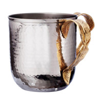 Nickel Plated Washing Cup- Hammered/ Gold Leaf