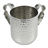 Nickel Plated Washing Cup- Hammered/ Silver Leaf