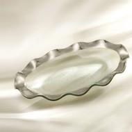 Annie Glass Ruffle Oval Platter- Platinum