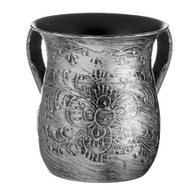 Stainless Steel Washing Cup- Silver Flower