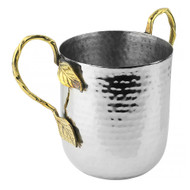 Stainless Steel Washing Cup- Hammered/ Brass Leaf