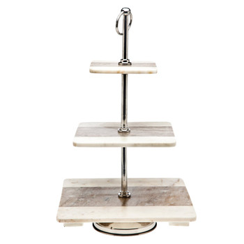 Godinger Two-Tone Marble 3 Tier Square Server