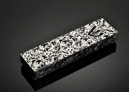 Metalace Royal Jacquard Mezuzah (Black)