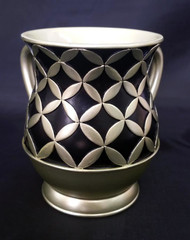 Acrylic Washing Cup Diamonds in Circles - Gold