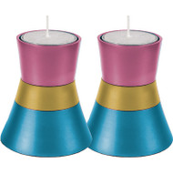 Turquoise/Pink/Gold Anodized Aluminum Tea Light Holder (Set of 2)