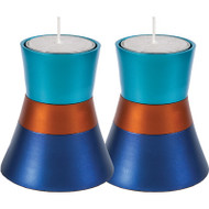Turquoise/Blue/Orange Anodized Aluminum Tea Light Holder (Set of 2)