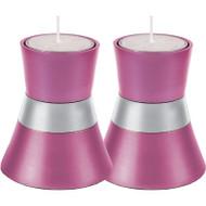 Pink Anodized Aluminum Tea Light Holder (Set of 2)