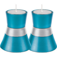 Turquoise Anodized Aluminum Tea Light Holder (Set of 2)