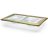 Annie Glass Two Section Glass Dish- Gold
