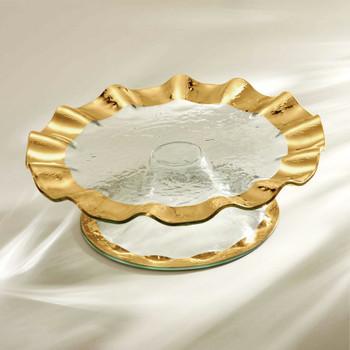 Annie Glass Ruffle Pedestal Cake Plate- Gol