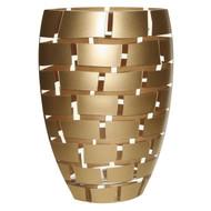 "Badash Glass Mouth Blown European 12"" Vase - Gold Wall"