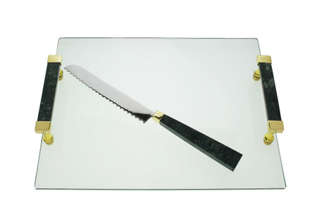 Glass Challah Tray with Black Marble Handles and Knife