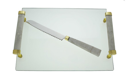 Glass Challah Tray with White Marble Handles and Knife
