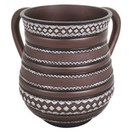 Brown Striped Polyresin Washing Cup