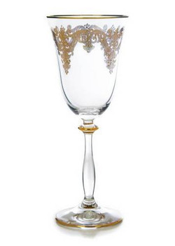 10oz Wine Glasses w/ 24K Gold Artwork (Set of 6)