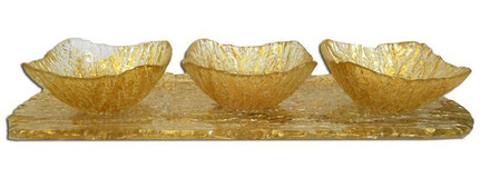 Trophy Gold Dip Bowls on Beveled Tray (CR547)