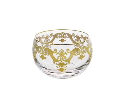 Vivid Plus Glass Bowl w/ 24K Gold Artwork