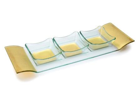3 Glass Bowls w/ Tray