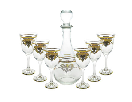 7 Piece Wine Set w/ Gold Artwork