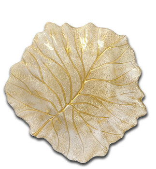 Trophy Gold Beveled Leaf Dish
