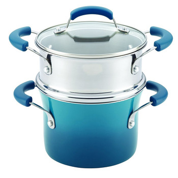 Rachael Ray 3 Qt Nonstick Covered Pot w/ Steamer Insert - Marine Blue