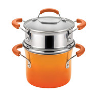 Rachael Ray 3 Qt Hard Enamel Nonstick Covered Pot w/ Steamer Insert - Orange
