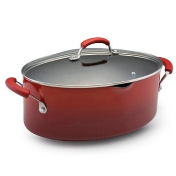 Rachael Ray 8 Qt Porcelain Enamel Nonstick Covered Pasta Pot w/ Pour Spout - Red (11540)