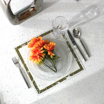 Waterdale Lucite Table Charger - Gold Marble (WD-TC-GLDM)