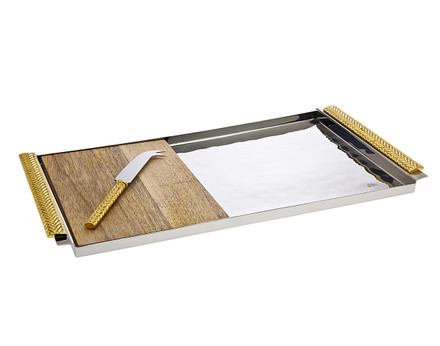 Godinger Herringbone Wood Board w/ Knife (70247)