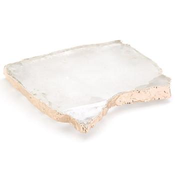 ANNA Kiva Platter/ Challah Board - Crystal & Rose Gold (Large) (KI-039)