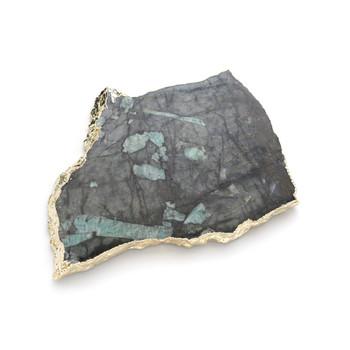 ANNA Kiva Platter/ Challah Board - Pure Emerald & Gold (Large) (KM-042)