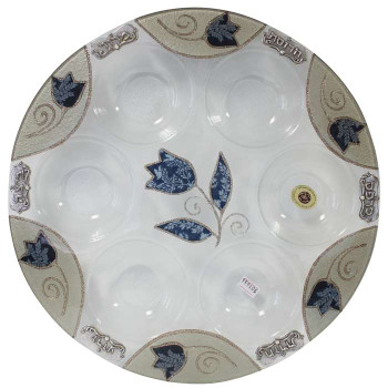 Lily Art Round Seder Plate- Blue Tulip (LASEPBL)