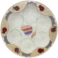 Lily Art Round Seder Plate- Purple Pomegranate (LASEPPU)