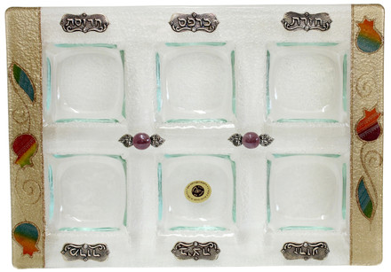 Lily Art Rectangle Seder Plate- Rainbow Pomegranate (LASEPR34)