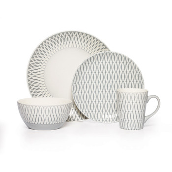 Mikasa Aurora Grey Dinnerware Set (Service for 4) (5138530)