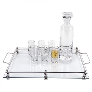 Classic Glass Serving Tray w/ Chrome Border (T750)
