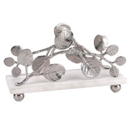 Badash Napkin Holder w/ Marble Base & Brass Petals Design - Silver