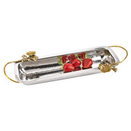 Badash Petals Stainless Steel & Brass Rectangle Tray (L852)