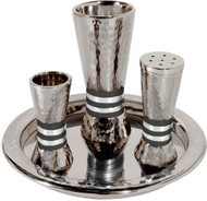 Hammered Havdalah Set - Black Rings (EM-HAC4)