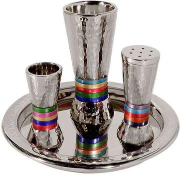 Hammered Havdalah Set - Multicolor Rings (EM-HAC1)
